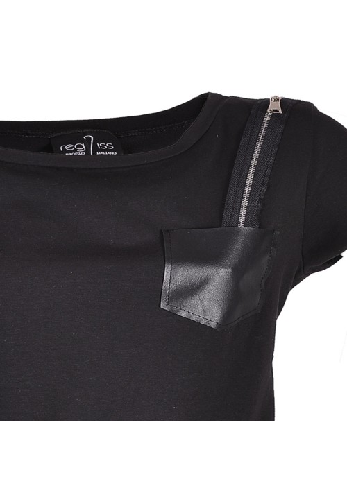 Shirt con taschino in pelle